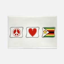 Peace Love and Zimbabwe Rectangle Magnet