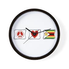 Peace Love and Zimbabwe Wall Clock