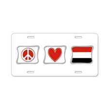 Peace Love and Yemen Aluminum License Plate