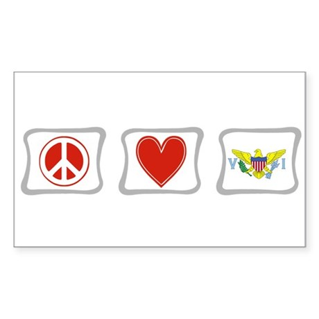 Peace Love & Virgin Islands Sticker (Rectangle)
