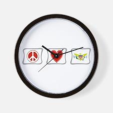 Peace Love & Virgin Islands Wall Clock