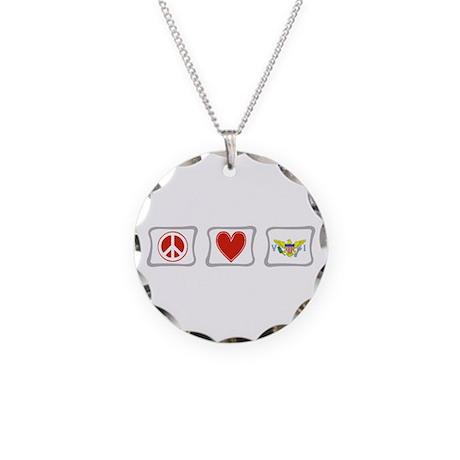Peace Love & Virgin Islands Necklace Circle Charm