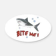 Shark - Bite Me Oval Car Magnet