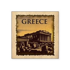"Vintage Greece Square Sticker 3"" x 3"""