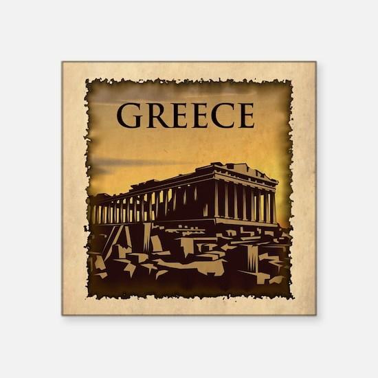 "Vintage Greece Square Sticker 3"" x 3"""