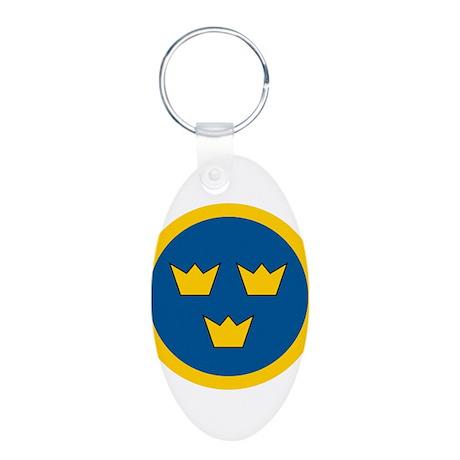 Sweden Roundel Aluminum Oval Keychain
