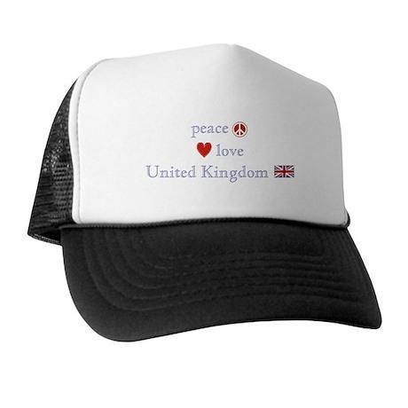 Peace Love & United Kingdom Trucker Hat