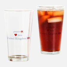 Peace Love & United Kingdom Drinking Glass