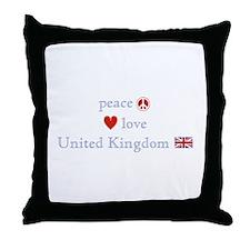 Peace Love & United Kingdom Throw Pillow