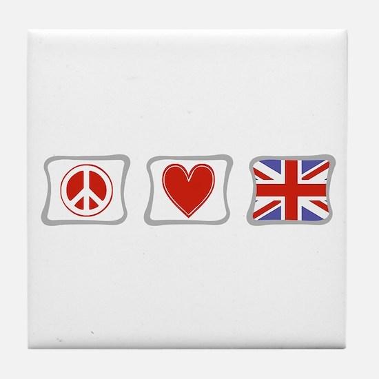 Peace Love & United Kingdom Tile Coaster
