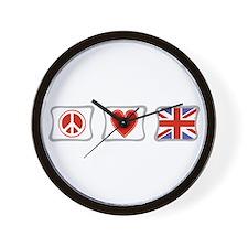 Peace Love & United Kingdom Wall Clock