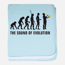 evolution saxophone player baby blanket
