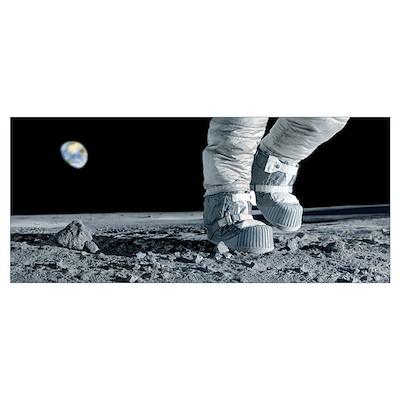 Astronaut walking on the Moon Poster
