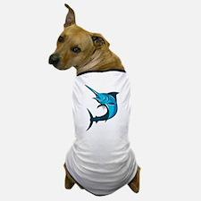 blue marlin fish jumping retro Dog T-Shirt