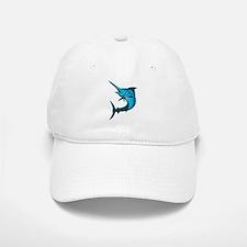 blue marlin fish jumping retro Baseball Baseball Cap