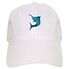 blue marlin fish jumping retro Baseball Cap
