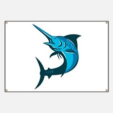 blue marlin fish jumping retro Banner