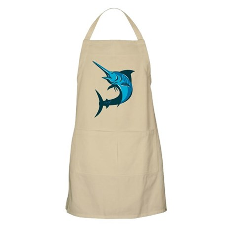 blue marlin fish jumping retro Apron