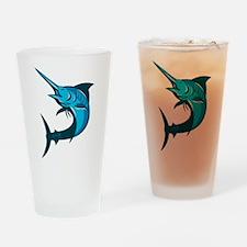 blue marlin fish jumping retro Drinking Glass