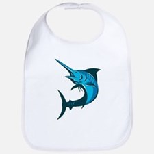 blue marlin fish jumping retro Bib
