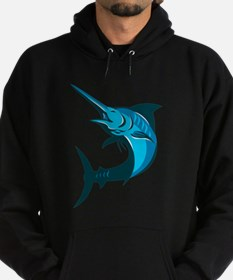 blue marlin fish jumping retro Hoodie (dark)