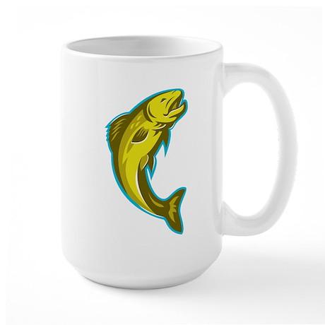 trout fish jumping retro Large Mug