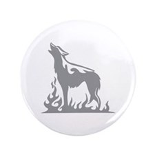 "Wolf Flames 3.5"" Button"