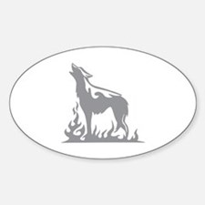 Wolf Flames Sticker (Oval)
