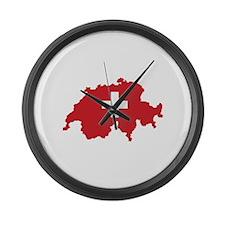 Flag Map of Switzerland Large Wall Clock