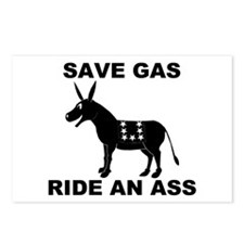 SAVE GAS RIDE AN ASS Postcards (Package of 8)