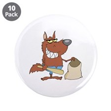 "Wolf 3.5"" Button (10 pack)"
