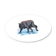 Wolf Oval Car Magnet