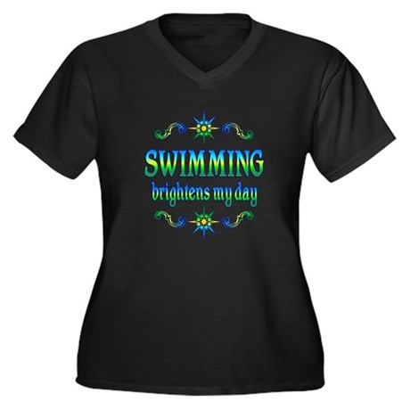 Swimming Brightens Women's Plus Size V-Neck Dark T