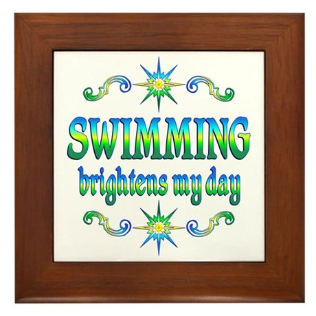 Swimming Brightens Framed Tile