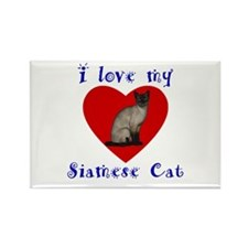 I Love My Siamese Cat Rectangle Magnet