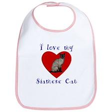 I Love My Siamese Cat Bib