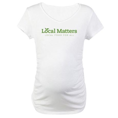 LM green on white logo Maternity T-Shirt