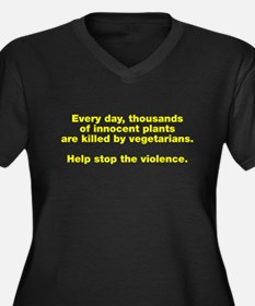 Stop Plant Violence Women's Plus Size V-Neck Dark