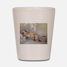 Hokusai Old Tiger In The Snow Shot Glass