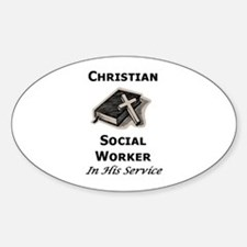 Christian Social Worker Oval Decal