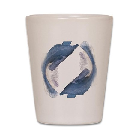 Blue Fish Circle Shot Glass