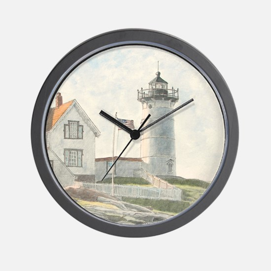 Nubble Light Watercolor Wall Clock