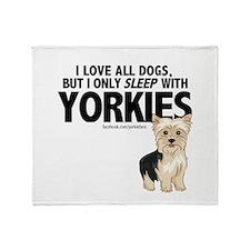I Sleep with Yorkies Throw Blanket