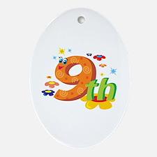 9th Celebration Ornament (Oval)