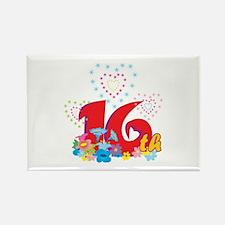 16th Celebration Rectangle Magnet (100 pack)