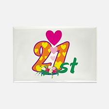 21st Celebration Rectangle Magnet (100 pack)