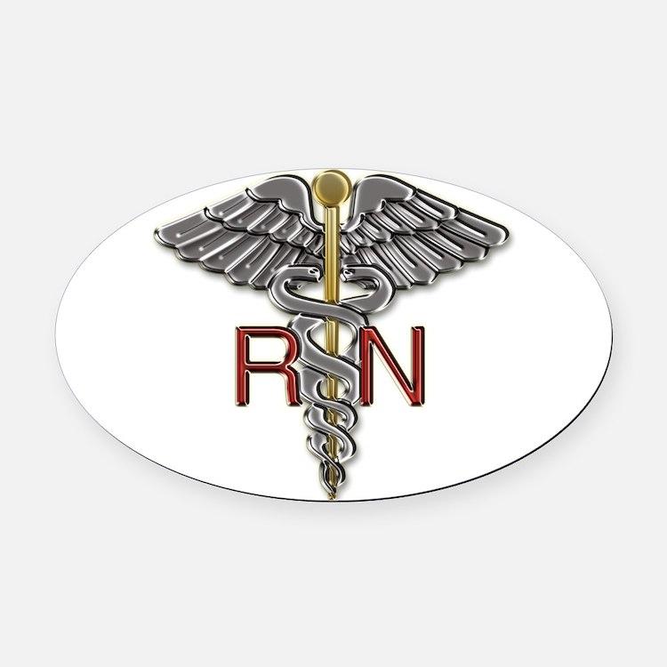 RN Medical Symbol Oval Car Magnet