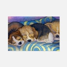 Beagle puppies asleep on the sofa Rectangle Magnet