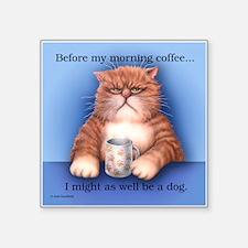 "Coffee Cat Square Sticker 3"" x 3"""
