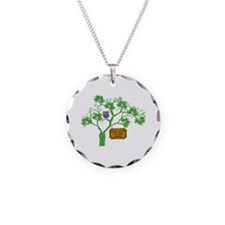 Cancer Doesn't Live Tree Owl Necklace Circle Charm